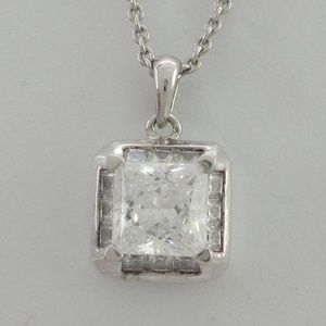 Jewelry - Sterling Diamonique 2CT Princess Cut Halo Pendant